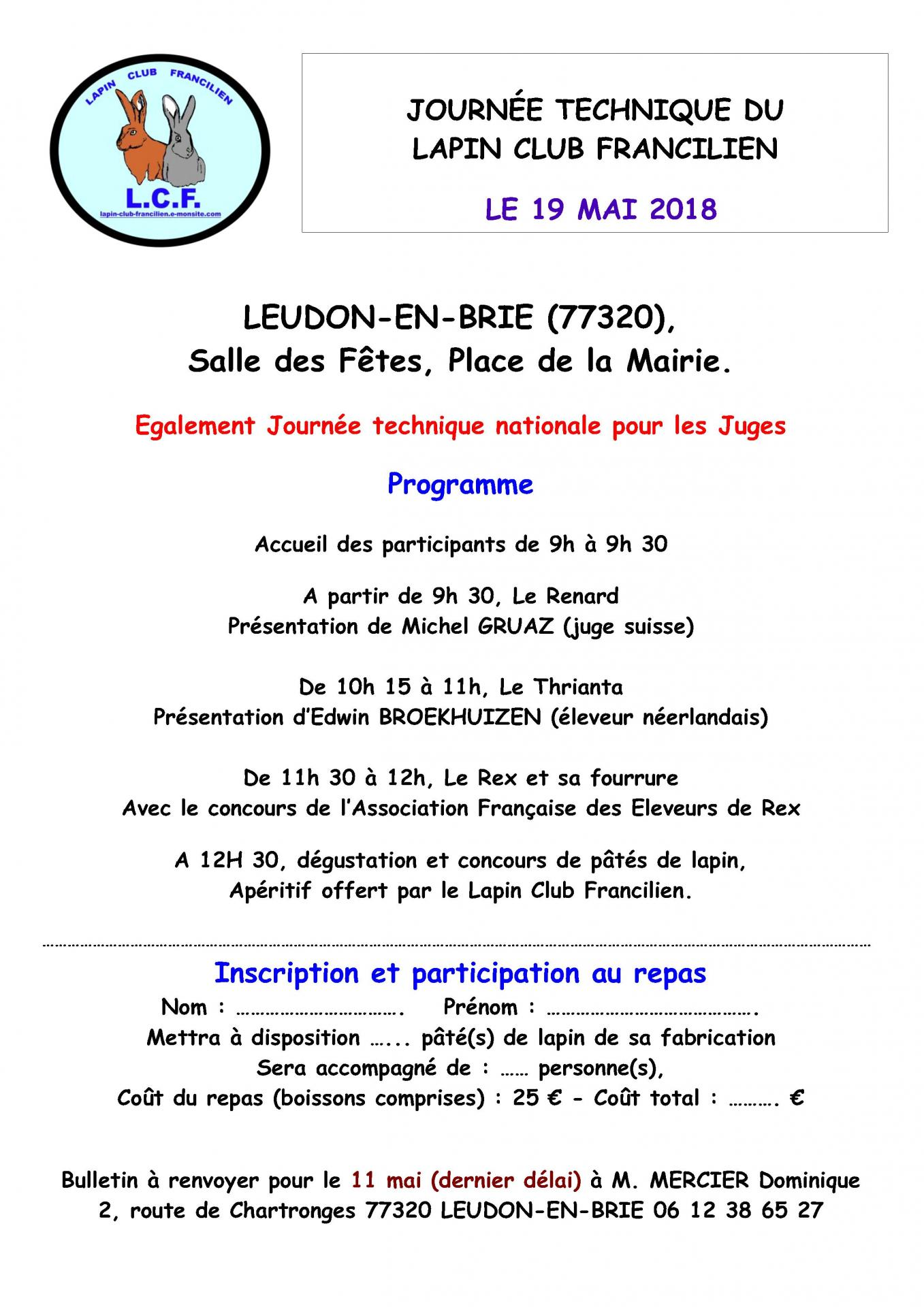 Journee technique lcf 19 mai 2018