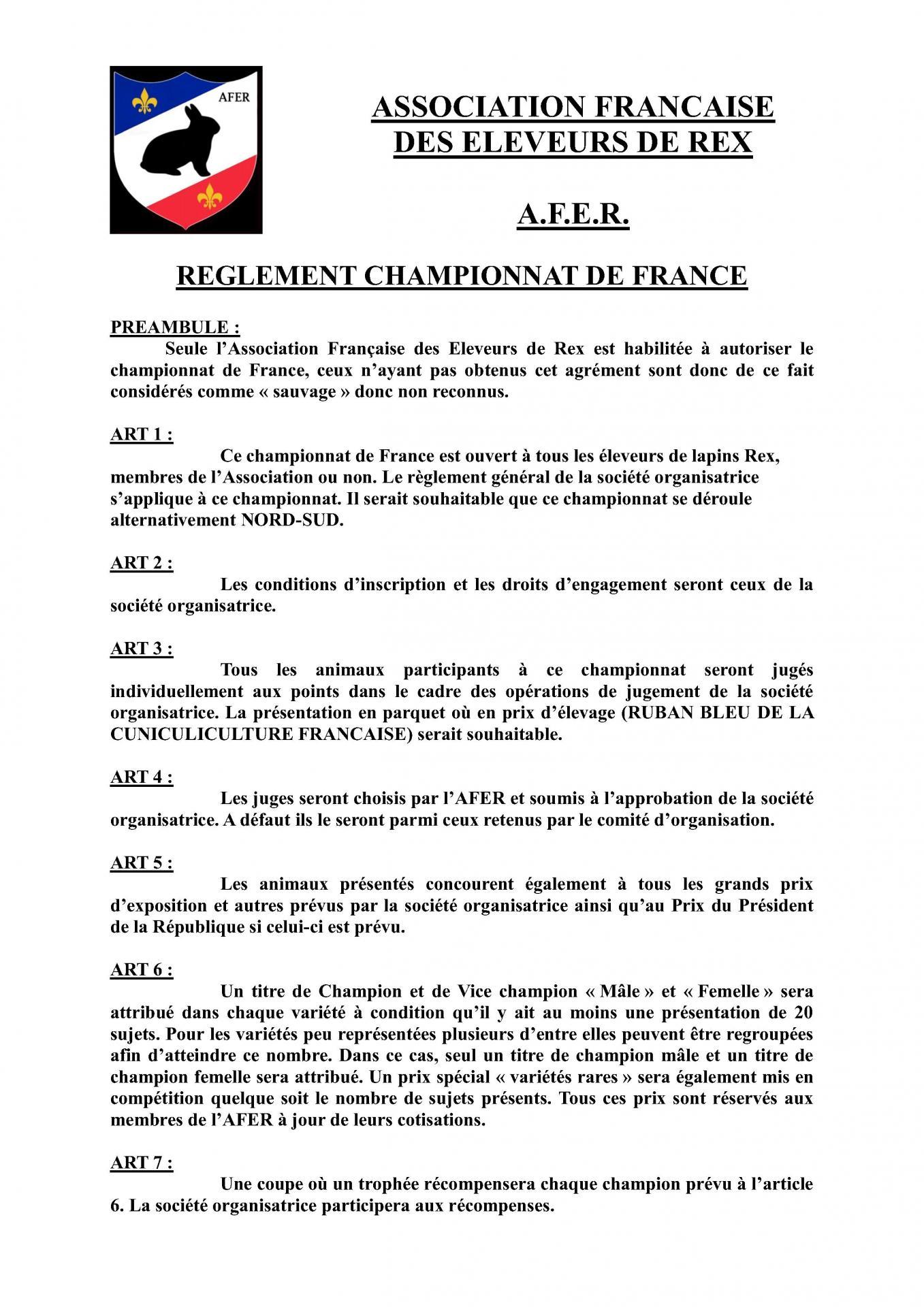 Reglement championnat de france 1