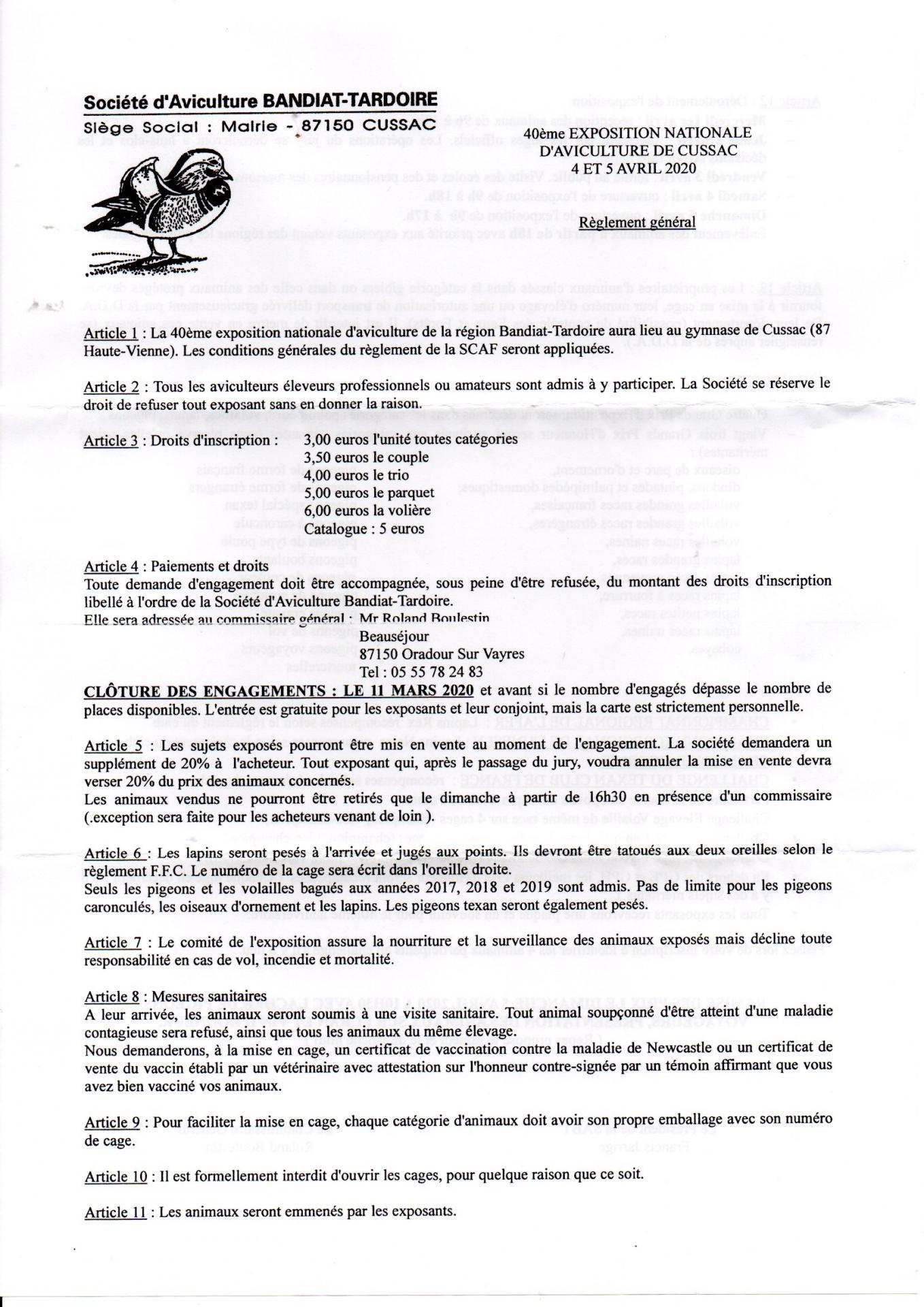 Reglement cussac p1