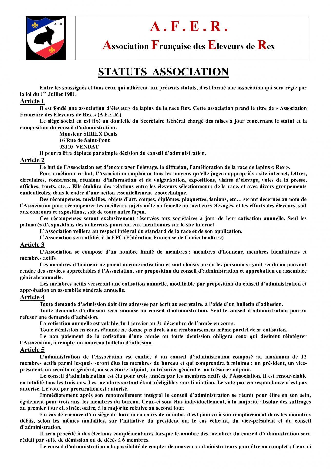 Statut club du rex 1
