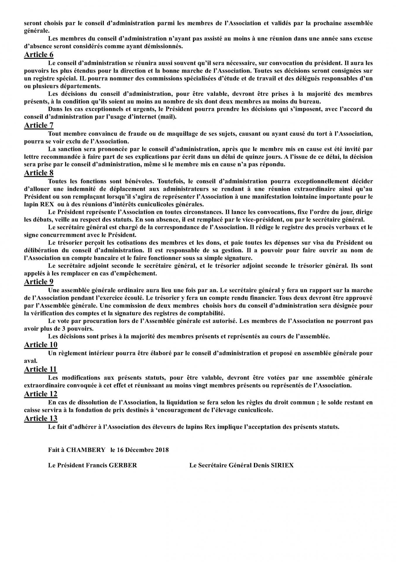 Statut club du rex 2